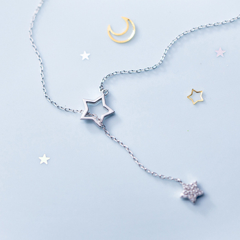 HF JEL 100% de Plata de Ley 925 colgante de estrella hueco collares para las mujeres la estrella de diamantes de imitación declaración collares, regalos de navidad