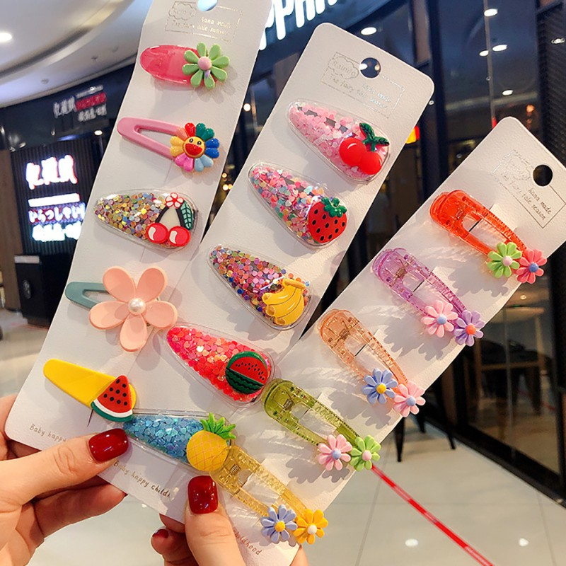 5Pcs/Set Ins Baby Girls Fruit Sequin Princess Shiny Colorful Hair Clips Sweet Headwear Hair Accessories Hairpins Barretts
