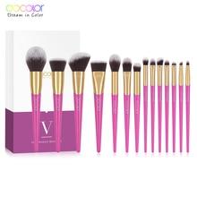 Docolor Makeup Brushes Set 14PCS Professional Make Up Brushes New Brushes for Face Makeup  Foundation Powder Eyeshadow Brushes цена