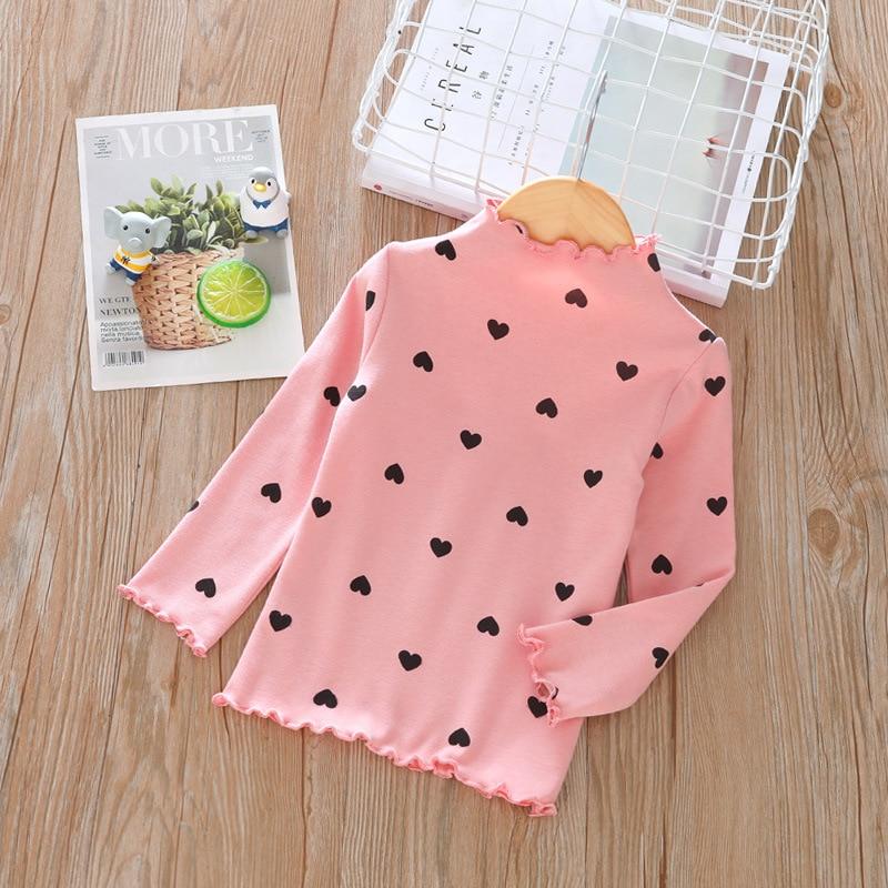 Весенне-осенняя футболка с длинными рукавами для девочек модная детская рубашка в горошек с высоким воротником в европейском и американском стиле - Цвет: Розовый