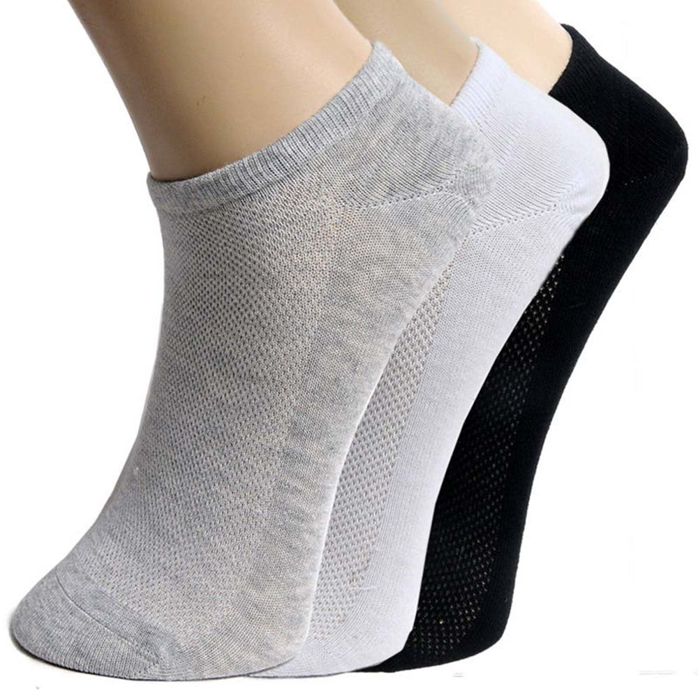5 Pairs Summer Solid Black White Grey Men's Ankle Socks Low Cut Crew Casual Sport Cotton Socks Sports Socks Breathable