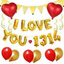 16-дюймовый шпилька Золотой I LOVE You предложение исповедь воздушный шар на свадьбу дом, свадебных платьев, декоративных изделий и 18-дюймовые Алюминий пленка сердце Форма Balloo