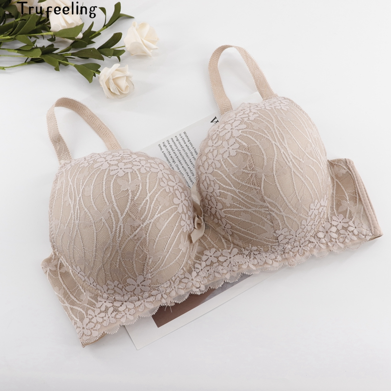 Trufeeling Full <font><b>Cup</b></font> Thin Underwear C <font><b>D</b></font> DD <font><b>Bra</b></font> Plus Size Adjustable <font><b>Lace</b></font> Women's <font><b>Push</b></font> <font><b>Up</b></font> <font><b>Bra</b></font> Breast Cover Large Size <font><b>Lace</b></font> <font><b>Bras</b></font> image