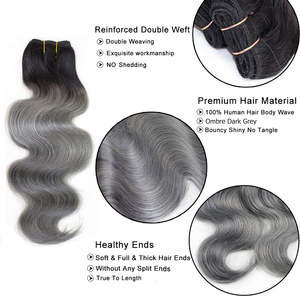 Image 2 - Bobbi Collection 1 Bundle Brazilian Body Wave Ombre Grey Pink Rose Golden Remy Human Hair Extension Ombre Hair Weave Bundles
