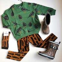 Carlijnq marca criança moletom e calças da criança menino moda pássaro e árvore topos crianças meninas outono inverno topos roupas do bebê inverno