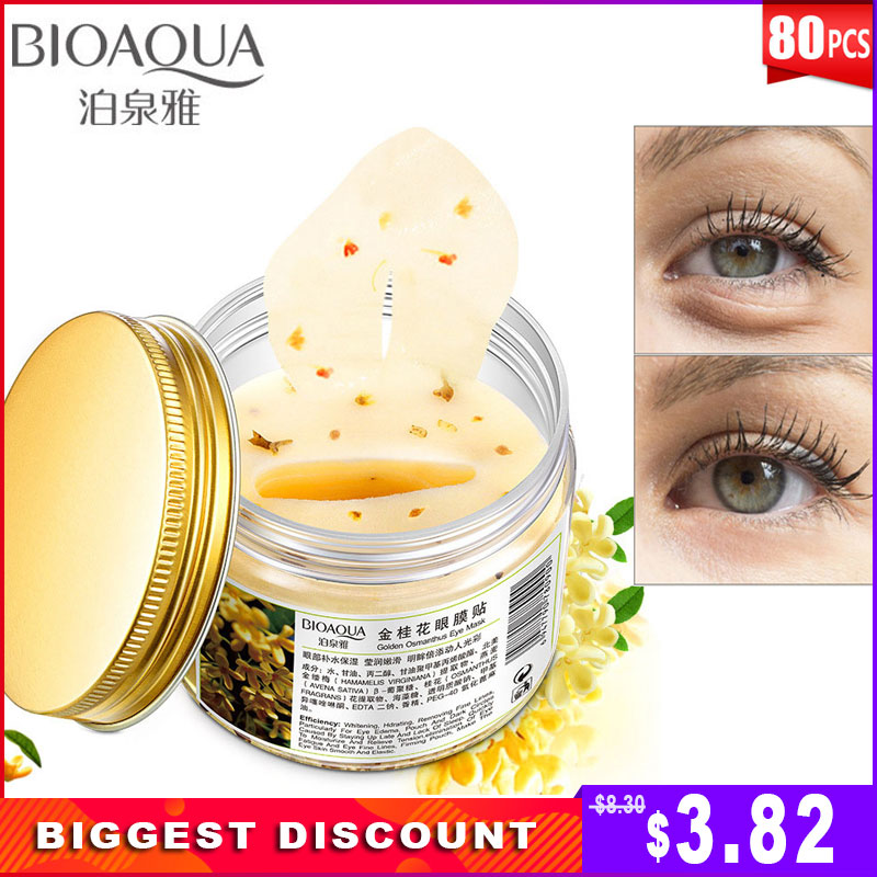 Eye-Patches Whitening Remove-Dark-Circles Anti-Aging Face Gold Osmanthus BIOAQUA 80pcs/bottle-Mask