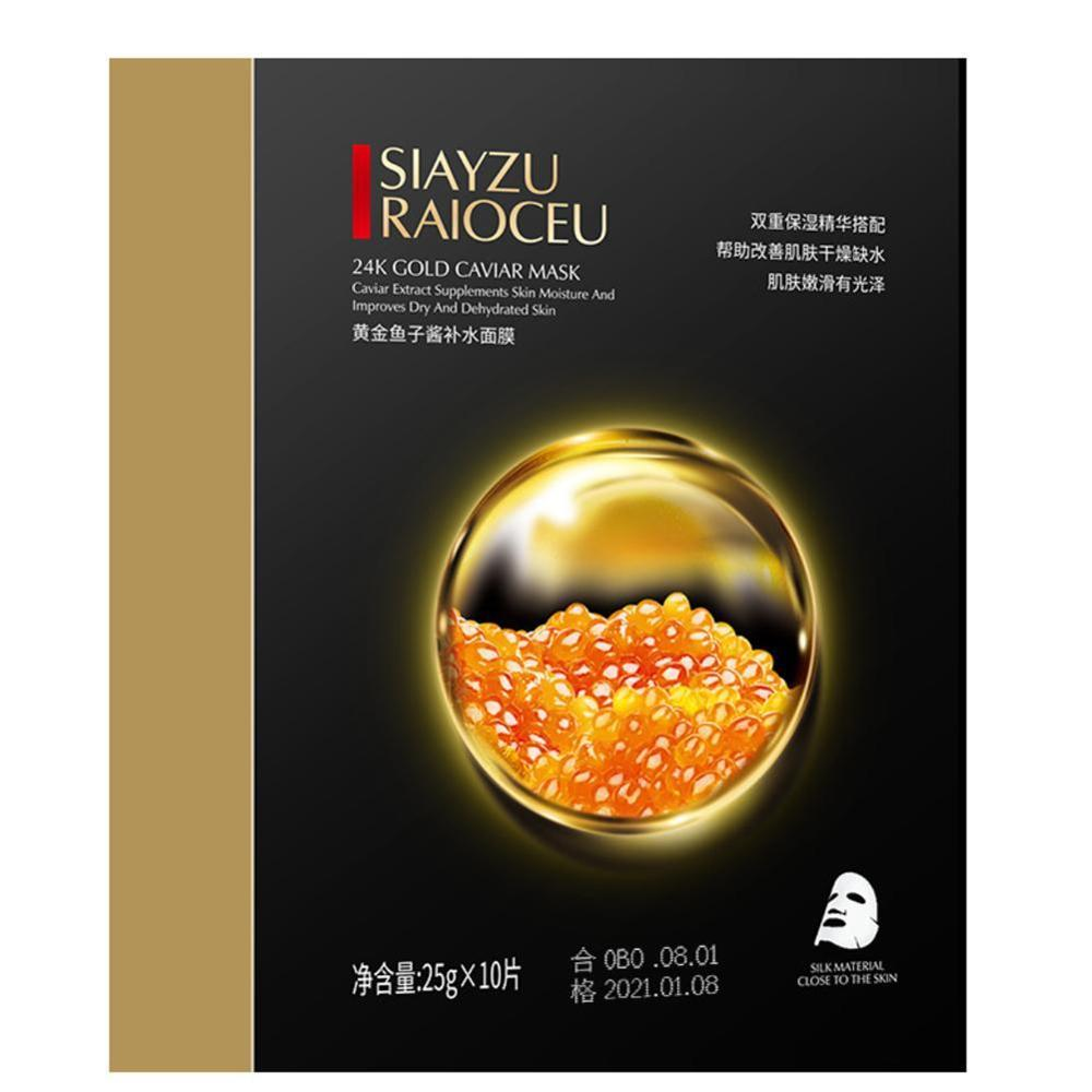 High Quality 10 Pcs Gold Caviar Hydrating Facial Mask Deep Moisturizing Easy to Absorb and Improve Skin Facial Care 6