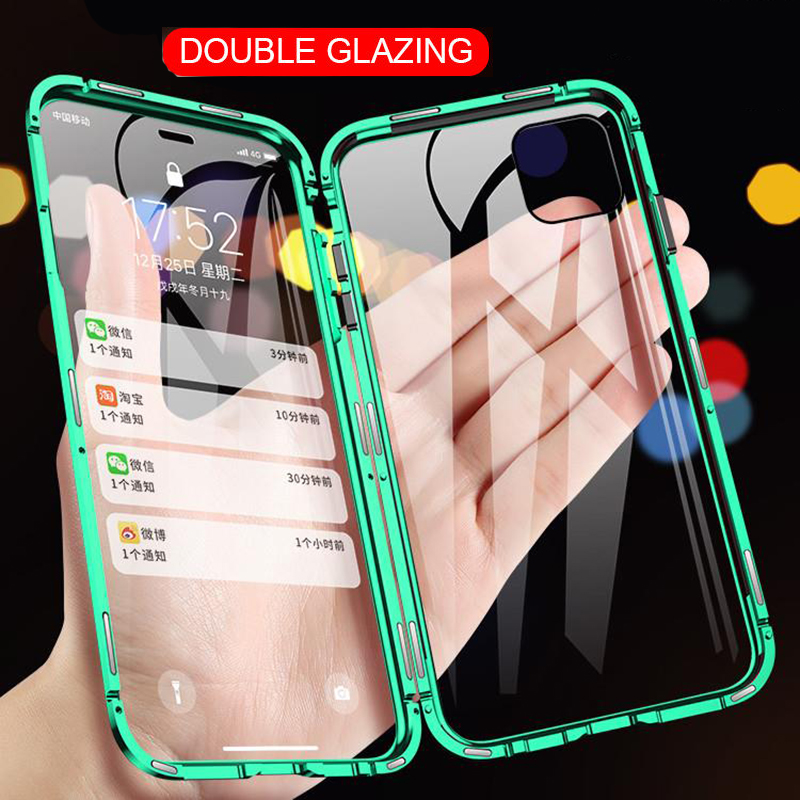 360 Magnetic Adsorption Metal Case For iPhone SE 11 Pro XS Max XR Double-Sided Glass Case For iPhone 7 8 6 6s Plus Magnet Cover(China)