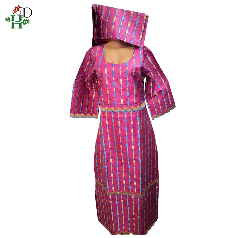 H&D Ladies African Traditional Dresses Cotton Embroidery Ankara Dress Boubou Nigerian Auto Gele Headtie Bazin Woman Clothes SP-3