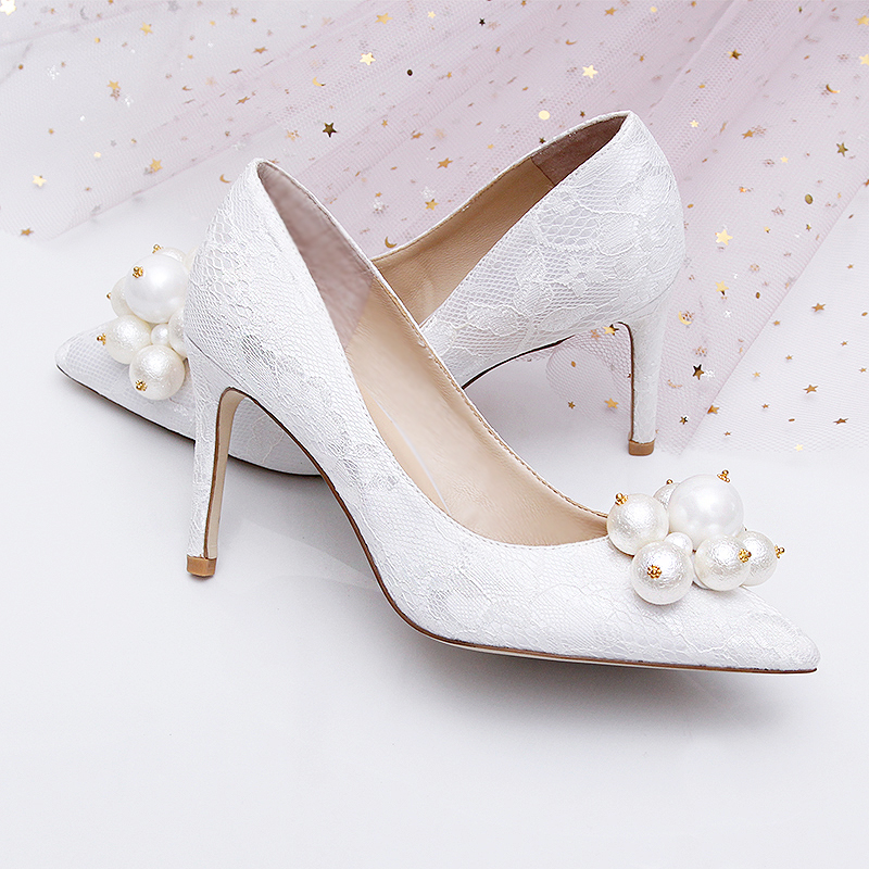 Célébrité France luxe noir dentelle maille carré gemme Bling perles haut talon soirée dames demoiselles d'honneur Sexy robe chaussures - 4