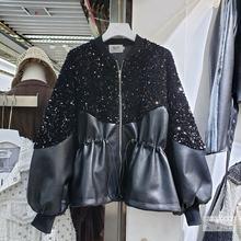 Новинка осени 2020 модное кожаное платье с блестками для тяжелой