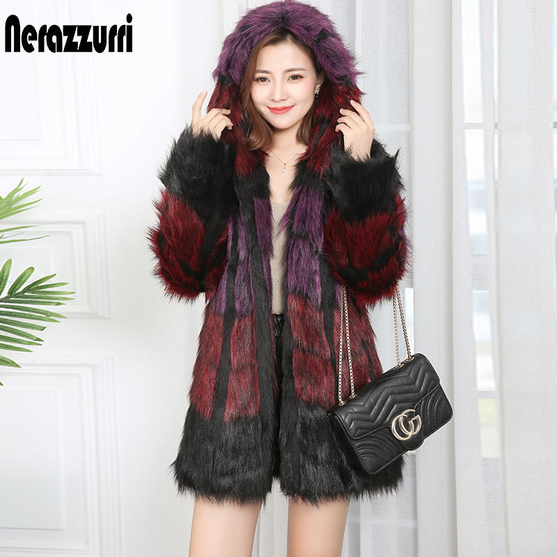 Nerazzurri Furry Faux Fur Coat With Hood Long Sleeve Shaggy Warm Fluffy Jacket Plus Size Women Winter Coats With Fur 2020 7xl