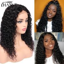 Волосы hanne 4*4 закрытие шнурка L/M/R 3 части парики бразильские Remy парики бесклеевой воды волна шнурка человеческих волос парик для черных женщин