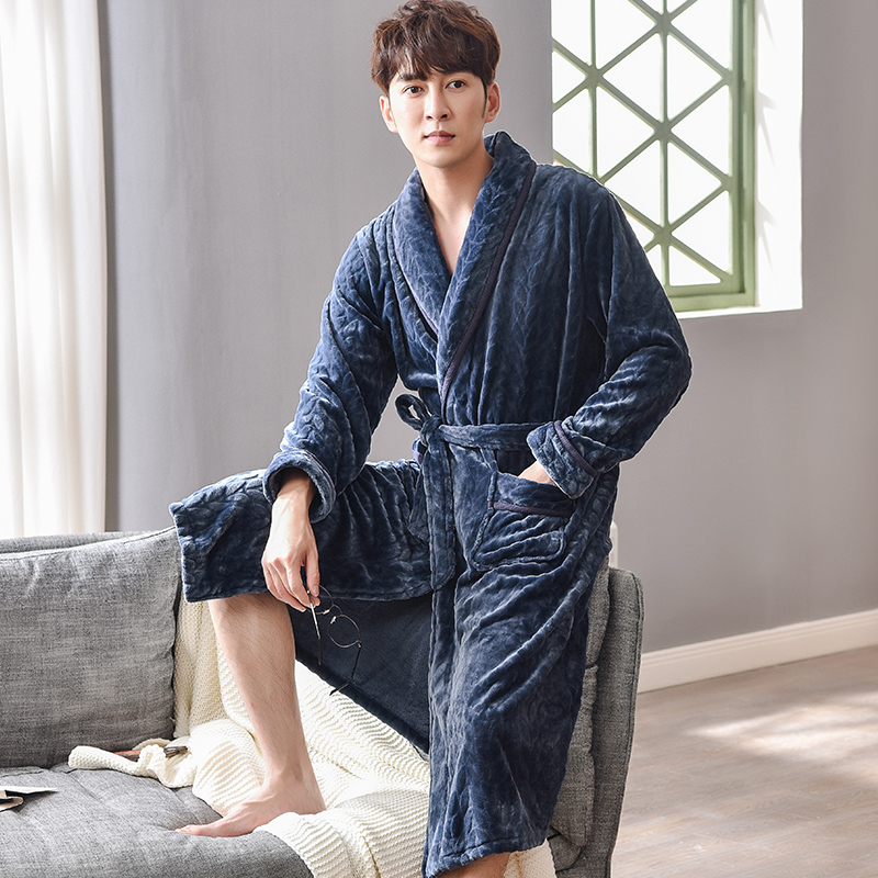 Winter Flannel Home Clothes Bathrobe Men Lengthened Plush Shawl Bathrobe Male Long Sleeved Spa Robe Coat Coral Fleece Pajamas