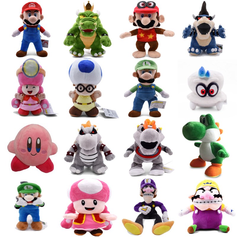 Super Mario Bros 3D Land Bone Koopa Dragon Dark Bowser Luigi Yoshi Captain Odyssey Kirby And Friens Doll Plush Soft Stuffed Toys