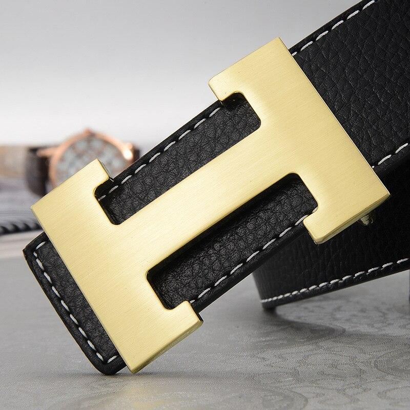Ремень мужской кожаный с автоматической пряжкой, люксовый дизайнерский брендовый чёрный, из сплава, с пряжкой в форме буквы H