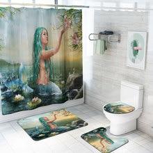 цена на Mermaid Shower Curtain Set Waterproof Shower Curtain Absorbent Non-slip Bath Mat Toilet Cover Cartoon Bathroom Curtain With Hook