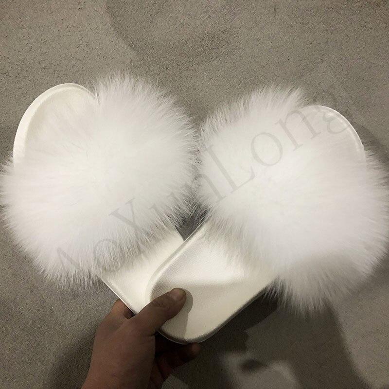 Women's White Fox Fur Slippers Ladies