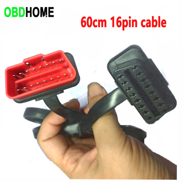 60CM Length Flat 16 PIN OBD2 Extension Cable Car Diagnostic Connector for Audi/Toyota etc Scanner ELM327 Adapter 16pin OBD Cord