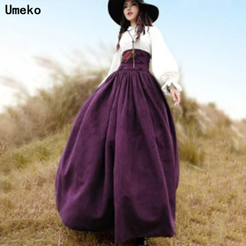 Umeko Women Vintage High Waist Long Victorian Skirt Back Steampunk Skirt Drama Costume Lolita Style Coseplay Skirt Long Skirt