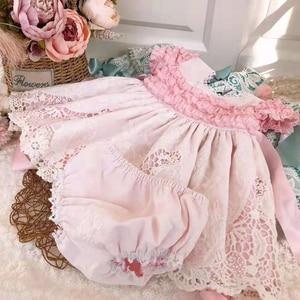 Robe de princesse en dentelle rose 2 pièces | À manches courtes, robe d'été espagnole Lolita pour fête d'anniversaire, robe de bal à col carré de 0-7 ans