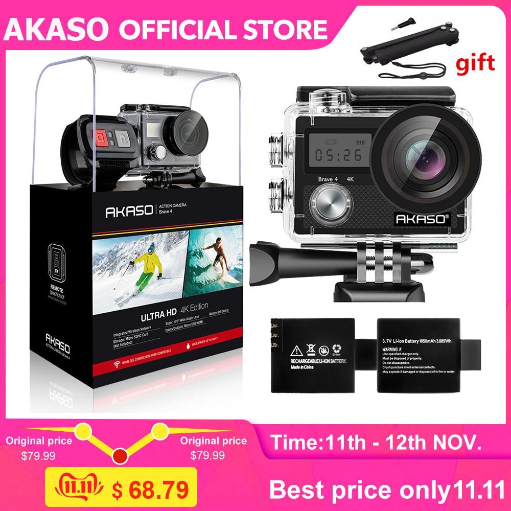 AKASO Brave 4 Action camera Ultra HD 4K WiFi 2.0 170D 20MP Underwater Waterproof Helmet Cam Camera Sport Selfie stick gift