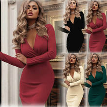Sexy Women Long Sleeve V-Neck Dress Ladies Solid Color Sheath Bodycon Gown Party Cocktail Club Dress Plus Size 2XL Clothes(China)