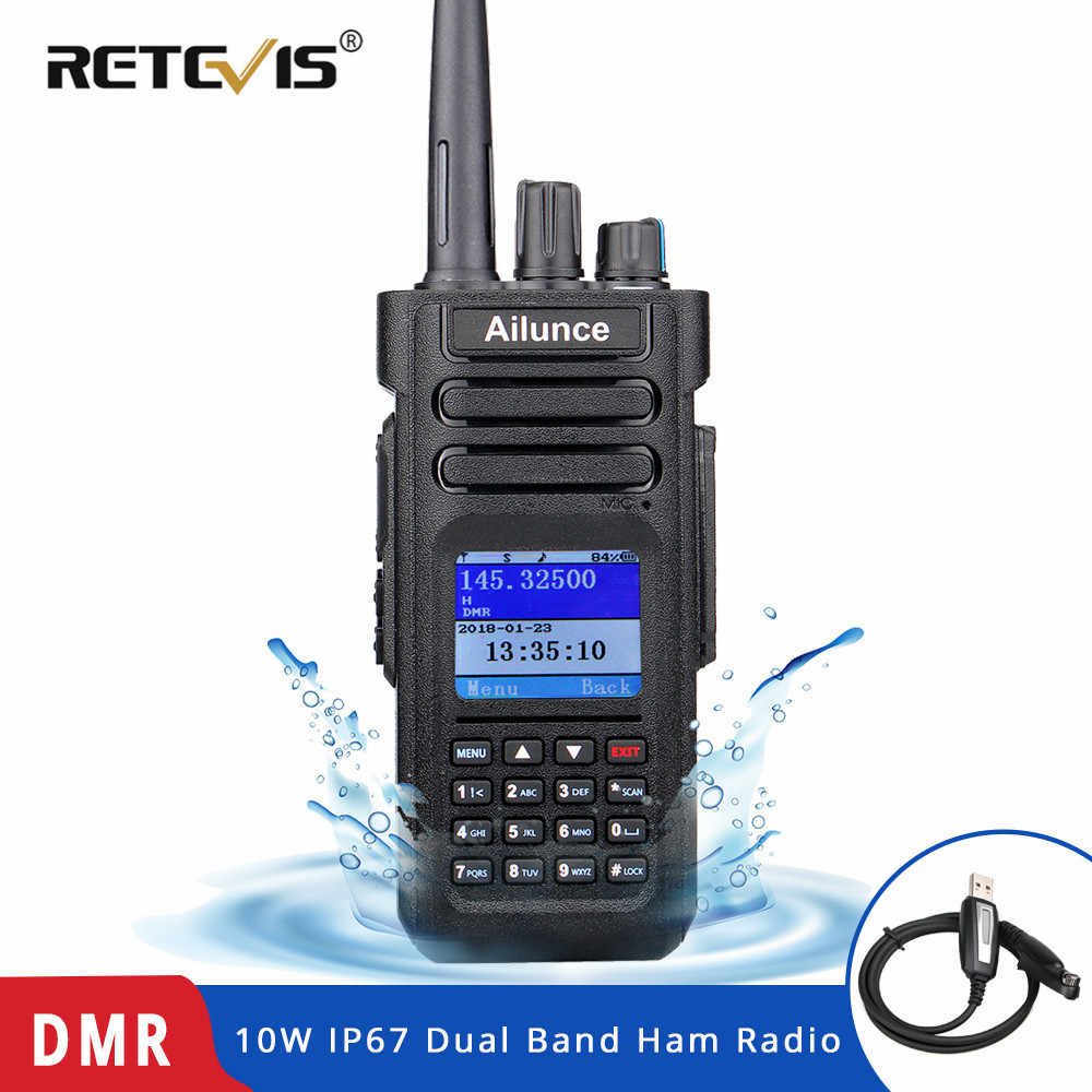 RETEVIS DMR Radio Ailunce HD1 Ham Radio IP67 Waterproof Digital Walkie Talkie (GPS) 10W VHF UHF Dual Band Two Way Radio Amador