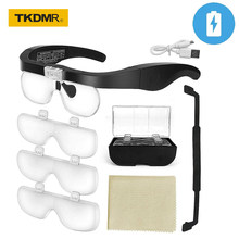 TKDMR Headband Binocular Eyewear Loupe Magnifier 1.5X 2.5X 3.5X 5.0X USB Rechargeable 2led Illuminated Eyeglass Magnifying Glass