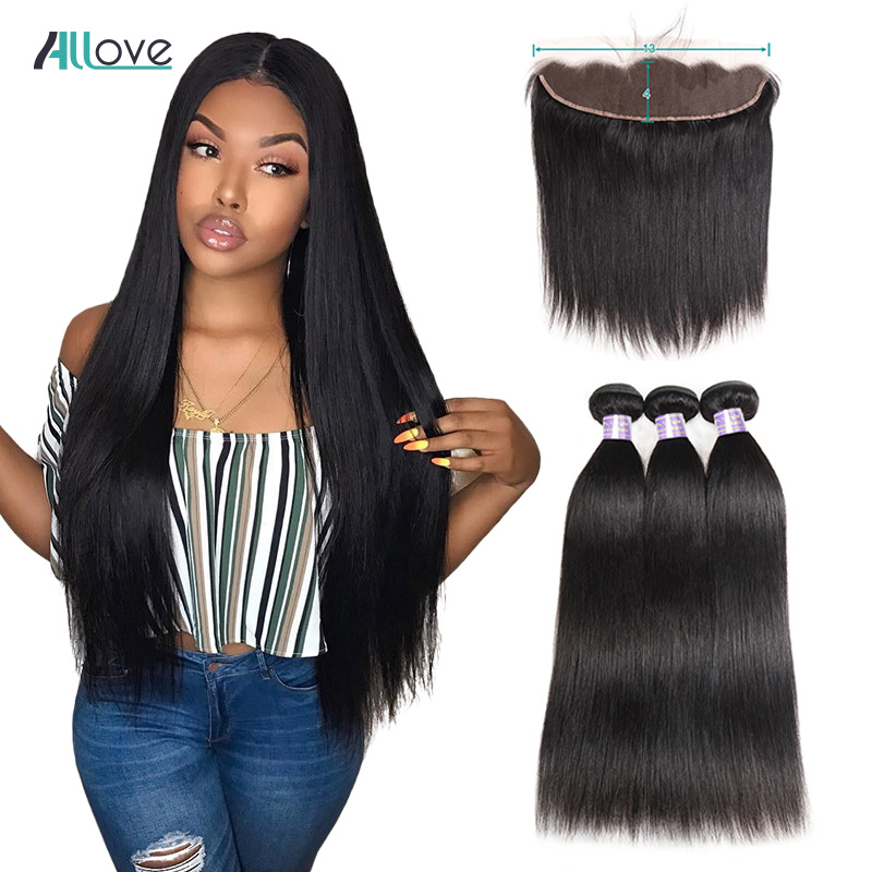 Allove Brazilian Straight Hair Bundles With Frontal 100% Human Hair Bundles With Closure Non-Remy Hair 3 Bundles With Closure