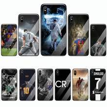 Ronaldo Sepak Bola Superstar Lionel Messi Phone Case Tempered Glass untuk Iphone 5C 6 6S 7 7 Plus X XS XR 11 PRO MAX(China)