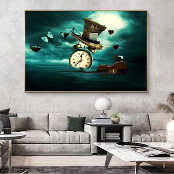 Clock Violin Butterfly Hat Surrealism Painting Printed on Canvas 4