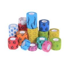 Atadura elástica adesiva impermeável do jogo de primeiros socorros da atadura ao ar livre fita respirável autoadesiva colorida do animal de estimação bandagem