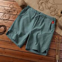 Verão solto shorts homens hip hop casual masculino shorts de algodão linho respirável curto pant plus size calções masculinos