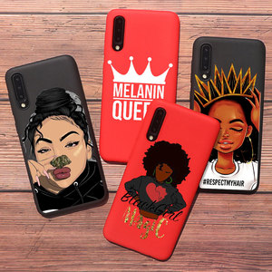 Melanin Poppin Queen Phone Case For Samsung S20 S10 S9 S8 Plus S7 Edge S10 E Afro Black Girl Magic rock Soft TPU Silicone Cover(China)
