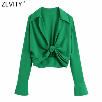 Zevity Women Fashion Turn Down Collar Knotted Green Color Short Smock Blouse Female Long Sleeve Slim Shirt Chic Crop Tops LS9465