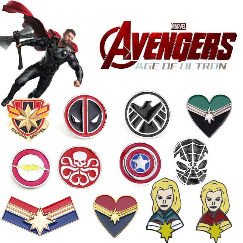 Film chaud Marvel Avengers émail broches broches Batman Thor Captain America bouclier bouclier Spider-Man masque revers Badge cadeau de mode