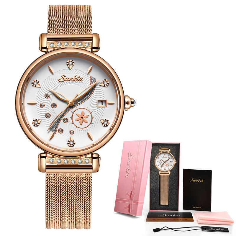 SUNKTA Mulheres Relógios Top Marca de Luxo Senhoras Malha Cinto Ultrafino Relógio de Aço Inoxidável Relógio À Prova D' Água Relógio de Quartzo Reloj Mujer