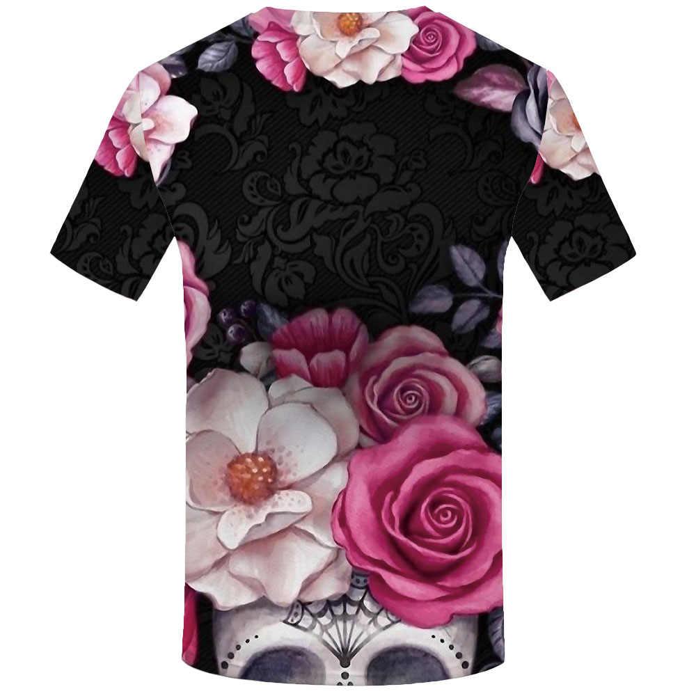 KYKU Bloem T-shirt Mannen Schedel Anime Kleding Zwart T-shirts 3d Gothic Grappige t-shirts Shirt Print Heren Kleding zomer