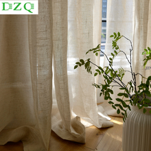 DZQ Solid Linen Tulle Curtain for Bedroom Tulle Window Curtain for Living Room Kitchen Japan Decoration Sheer Voile Blind Drape