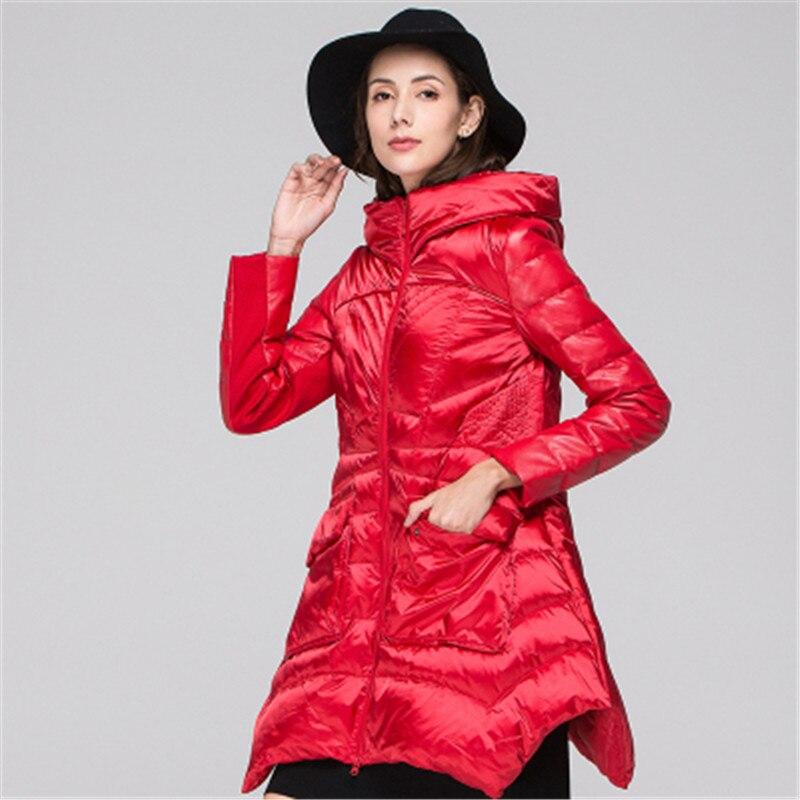 2019 nueva chaqueta de invierno para mujer de sección larga de moda salvaje con capucha de gran oscilación de chaqueta de cintura delgada 2