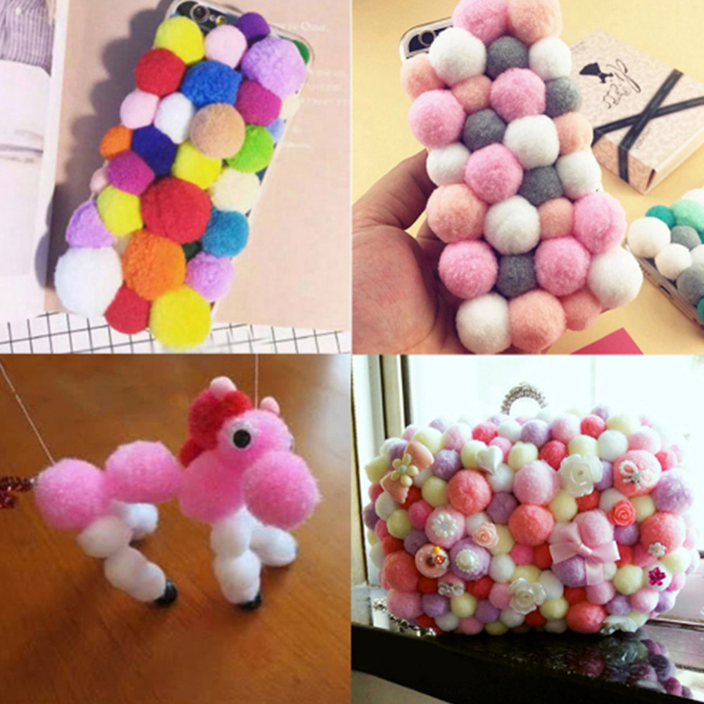 100pcs Mini Craft Pom Poms Fluffy & Vibrant, 18mm / 0.7inch Pea Size, 9 Colours Choice