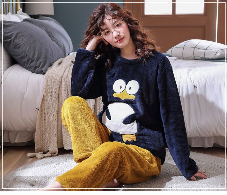 Long Sleeve Warm Flannel Pajamas Winter Women Pajama Sets Print Thicken Sleepwear Pyjamas Plus Size 3XL 4XL 5XL 85kg Nightwear 321