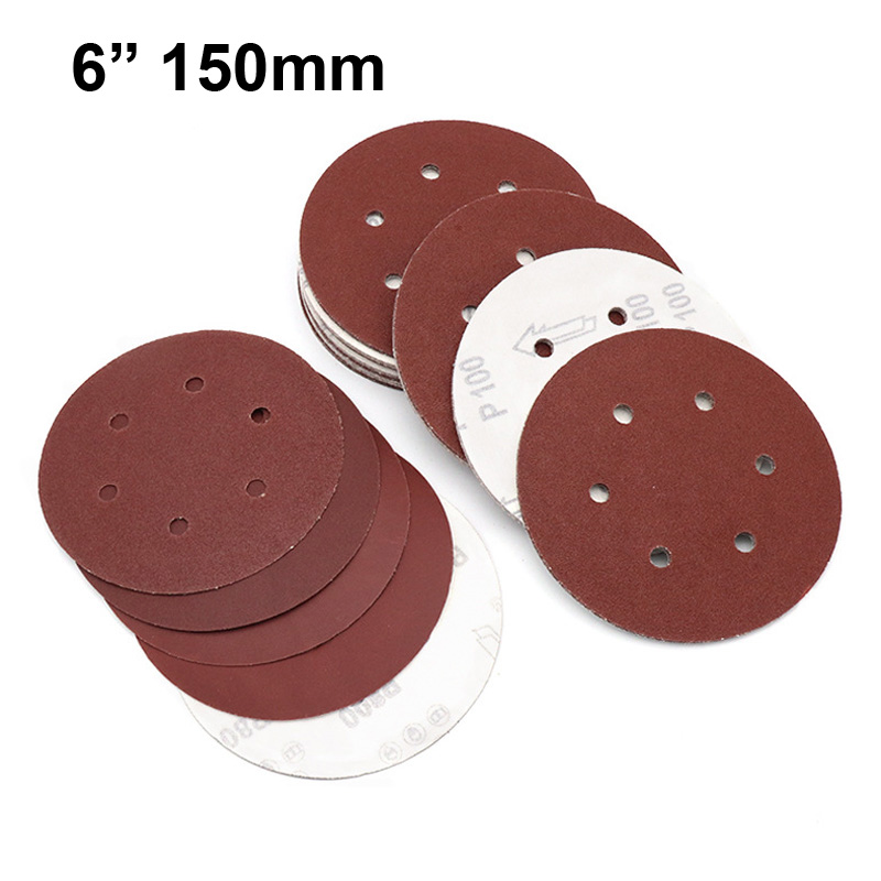 10pcs 6 Inch 150mm Round Sandpaper Six Hole Disk Sand Sheets Grit 40-800 Hook And Loop Sanding Disc Polishing Sheets