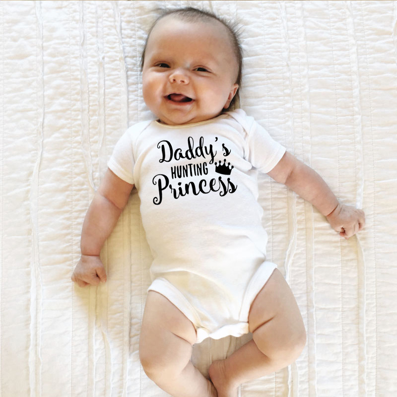 Daddy/'s Prince Princess Short Sleeve Boy Girl Rompers Baby Grows Newborn 0-18M