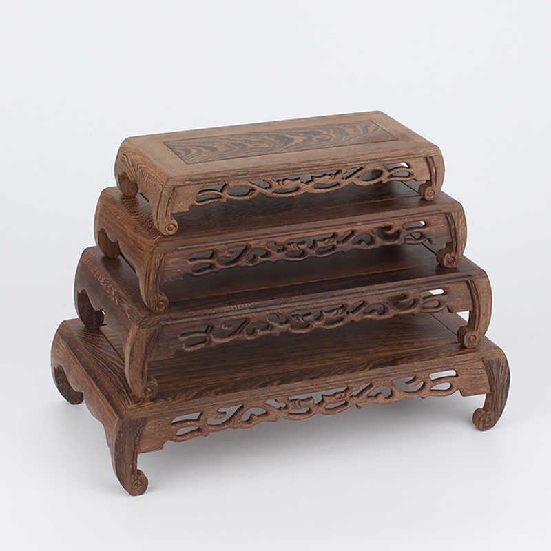 Ebony Wood Carved Display Square Rack Bonsai Pot Vase Statue Base Stand Decor