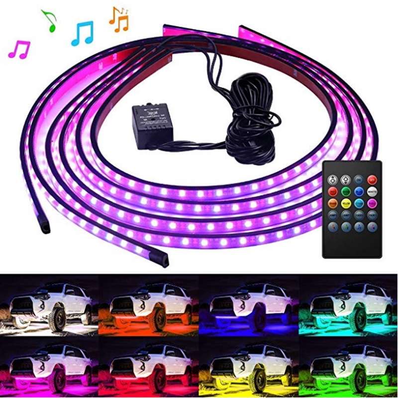 Chassis Lights Decorate Led-Strip Music Colorful Wireless 4pcs Car RGB Voice-Control