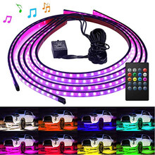 4PCS Car Colorful Atmosphere Lights Wireless Remote Voice Control RGB Chassis Lights Music 60*90CM 90*120CM LED Strip Decorate(China)