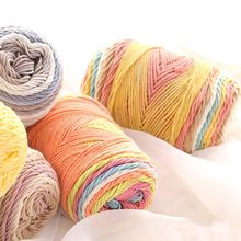 100g Color Rainbow Segment Dyed Yarn 5 Strand Wool DIY Handmade Knitted Baby Sweater Hat Scarf Sofa Cushion(China)