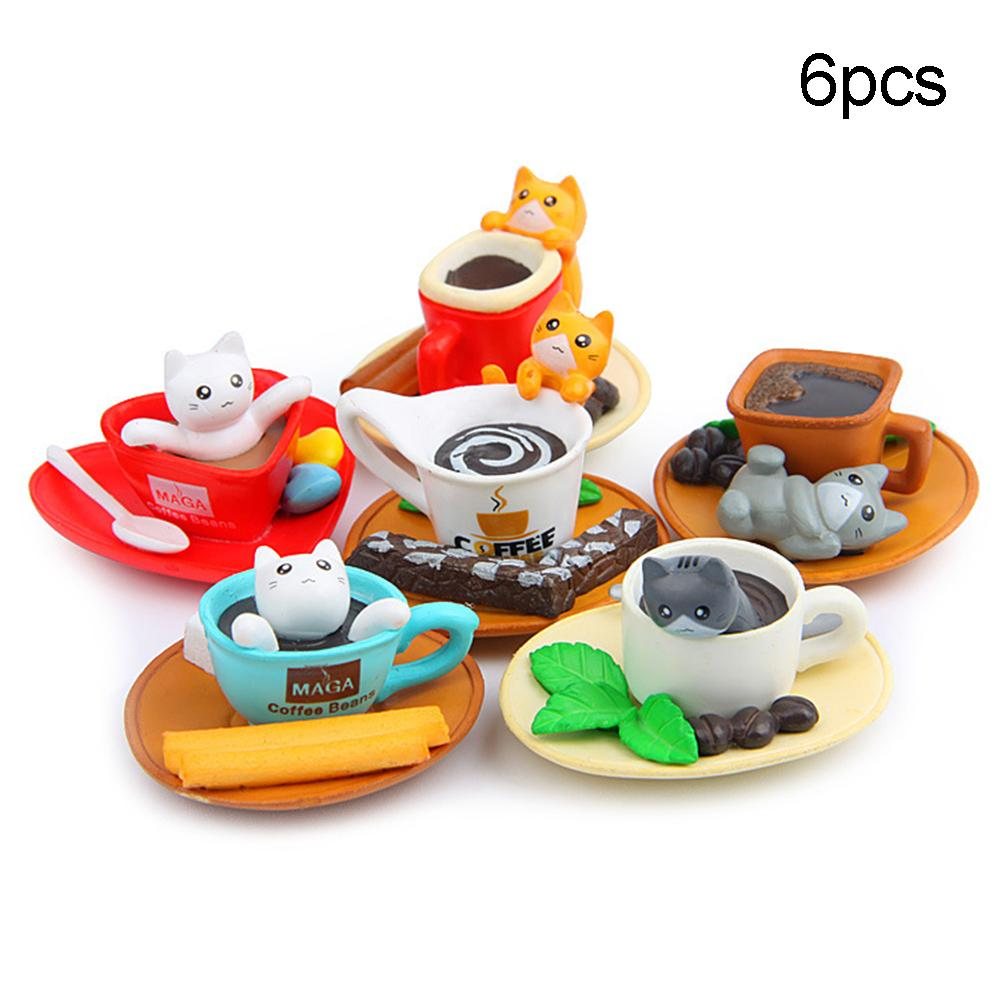 6Pcs/Set Coffee Cup Toast Cats Figurines Crafts Miniature Fairy Garden Decor DIY Landscape Decoration Non-toxic Cat Design